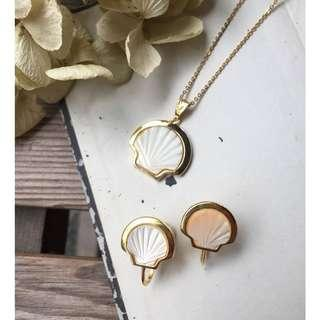 Skin&Moss Vintage復古耳環珍珠母貝項鍊珍珠母貝耳栓日本珍珠珍珠耳環
