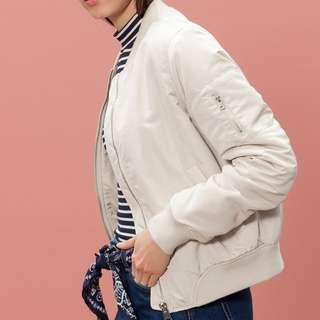 Stradivarius cream bomber jacket