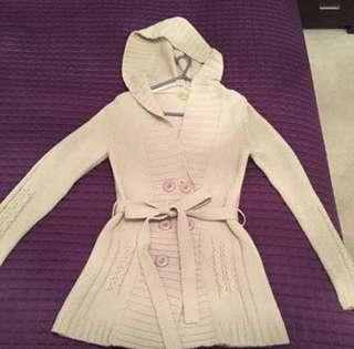 Beige Thick Hoodie Jacket Size 8