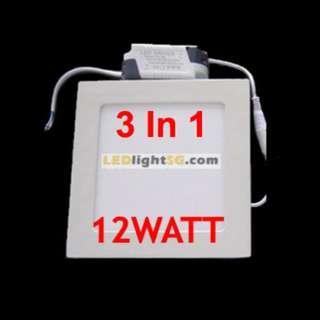 12W 3 Colour LED Flat Panel Downlight Square Round Tri Colour Switchable