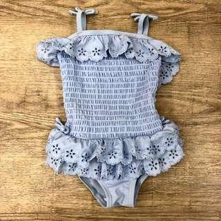 Next UK baby girl blue eyelet lace swimsuit 9-12m