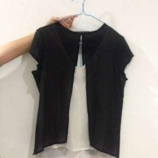 Black white Zara blouse