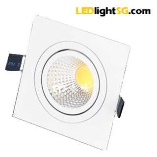 7W LED COB adjustable Downlight Square taiwan chip and driver 1yr warranty (white/warm white)