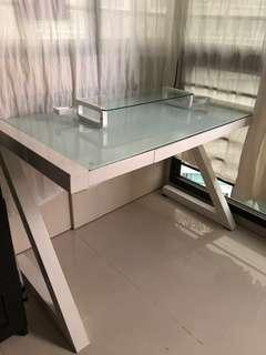 Work desk metal frame and glass top