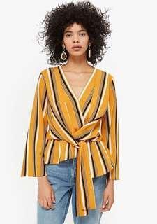 TOPSHOP knot stripe blouse