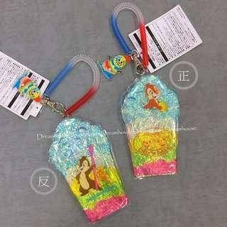 東京迪士尼 2018夏日祭典 絕版 奇奇蒂蒂 冰淇淋 奶昔造型 伸縮 彈簧 票卡夾 證件套夾