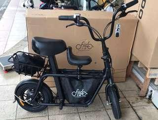 Black Fiido scooter with voltage meter