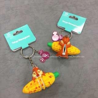 東京迪士尼 2018夏日祭典 絕版 奇奇蒂蒂 啃玉米 烤玉米 公仔 造型 鑰匙圈 吊飾