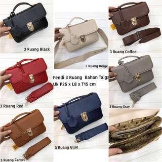 MUST HAVE!!!! TERMURAH!!!! TERBAIK!!!! FENDI 2In1 sling bag and handbag tas import wanita