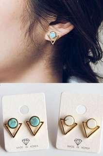 🚚 #809 Minimalist marble inverted triangular earrings
