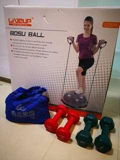 Bosu ball and weights