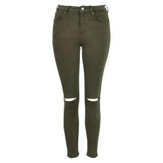 Topshop Moto 'Jamie' Ripped High Rise Skinny Jeans (Dark Green)