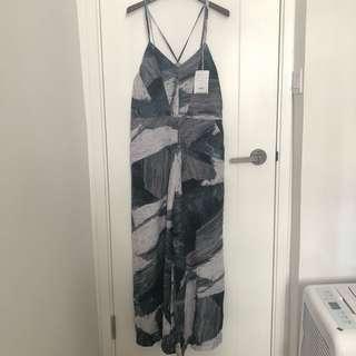 Initial 雲石pattern 吊帶 連身褲