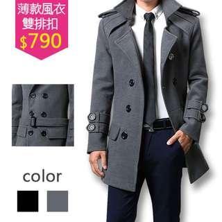 🚚 風衣男士型男薄款雙排釦帥氣風衣修身大衣