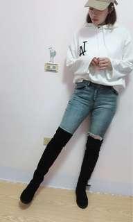🚚 LA白色連帽上衣 韓版