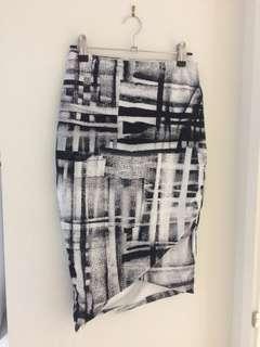 Kookai Black and White Stretchy Pencil Skirt