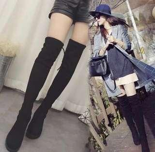 Over the knee black boots winter autumn