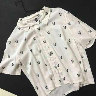 H&M Divided Pug Crop Shirt