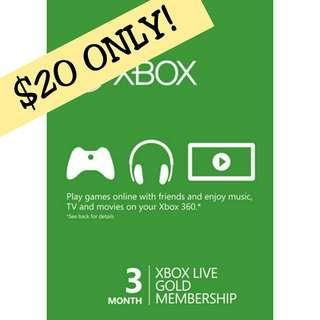 Xbox Live Membership 3 Months [ INSTANT DELIVERY! ]