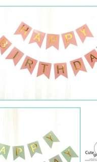 🚚 BN Happy Birthday Bunting Pink Banner