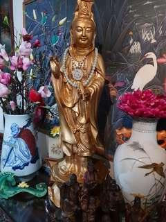 Old Antique goldpainted bronze Goddess of Mercy