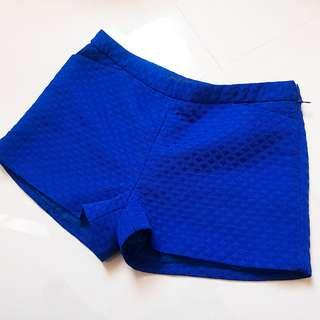 🚚 全新 And Then Far Pin 寶藍壓紋短褲 s 寬口短褲