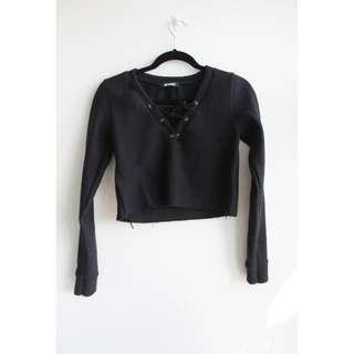 Missguided crop long sleeves with distressed detail (Price negotiable)