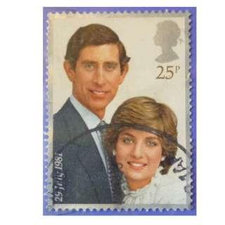 Stamp UK Great Britain 1981 Prince Charles and Lady Diana Spencer 25p