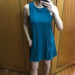 Zara green blue one piece dress