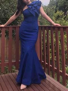 RENT Formal prom dress navy blue  size 10/12