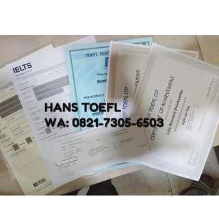Jasa SERTIFICATE TOEFL, IELTS dan lain-lainnya