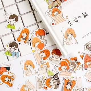 🚚 [In stock] 44 pcs little couple stickers for journal, planner or scrapbooking