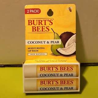 🚚 Burts Bees Coconut & Pear Moisturizing Lip Balm 100% Natural 2 PACK PAIR FREE POSTAGE
