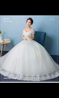 Off-Shoulder Lace Wedding Gown