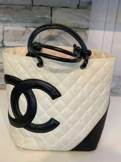 CHANEL Cambon Quilted Lambskin Tote in Black x White