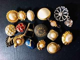 🚚 Vintage 古董飾品 不對稱夾式耳環