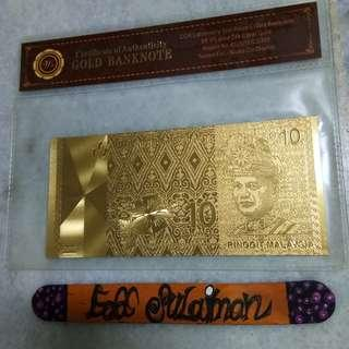 Gold banknote RM10