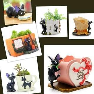 Totoro Planter Pot: Black Cat-Kiki's Delivery Service-魔女の宅急便; Majo no Takkyūbin