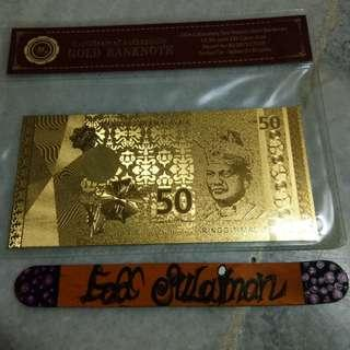 Gold banknote RM50