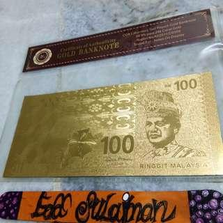 Gold banknote RM100