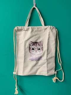 兩用貓咪包 束口帆布 後背手提 白色