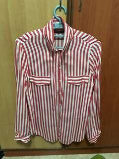 🚚 Zara Candy Cane Red and White Stripe Shirt