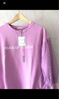 🈹New Japan Olive des Olive 粉紫衛衣拼網紗 purple top with mesh sleeves