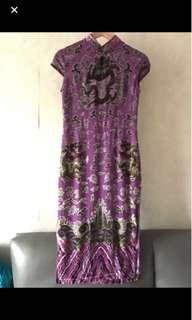 🈹Purple dragon Qipao 紫色龍圖案中長𣄃袍