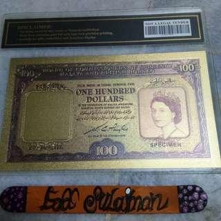 Gold Banknote $100 Malaya & British Borneo 1953