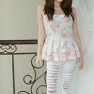 peplum flower top