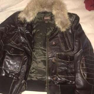 Authentic DANIER (real) leather jacket with fur