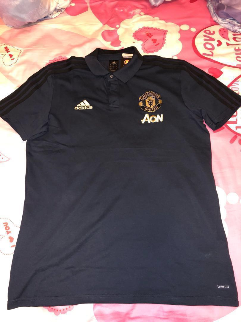 online retailer 7a5ee 35de0 Adidas Manchester United 2018-19 UCL Training Polo shirt Size L Navy Gold