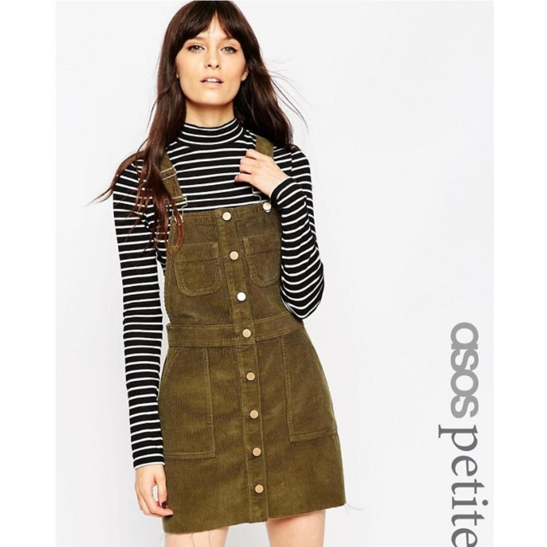 ASOS PETITE Denim Cord Mini Button Down Pinafore Dress in Olive Green