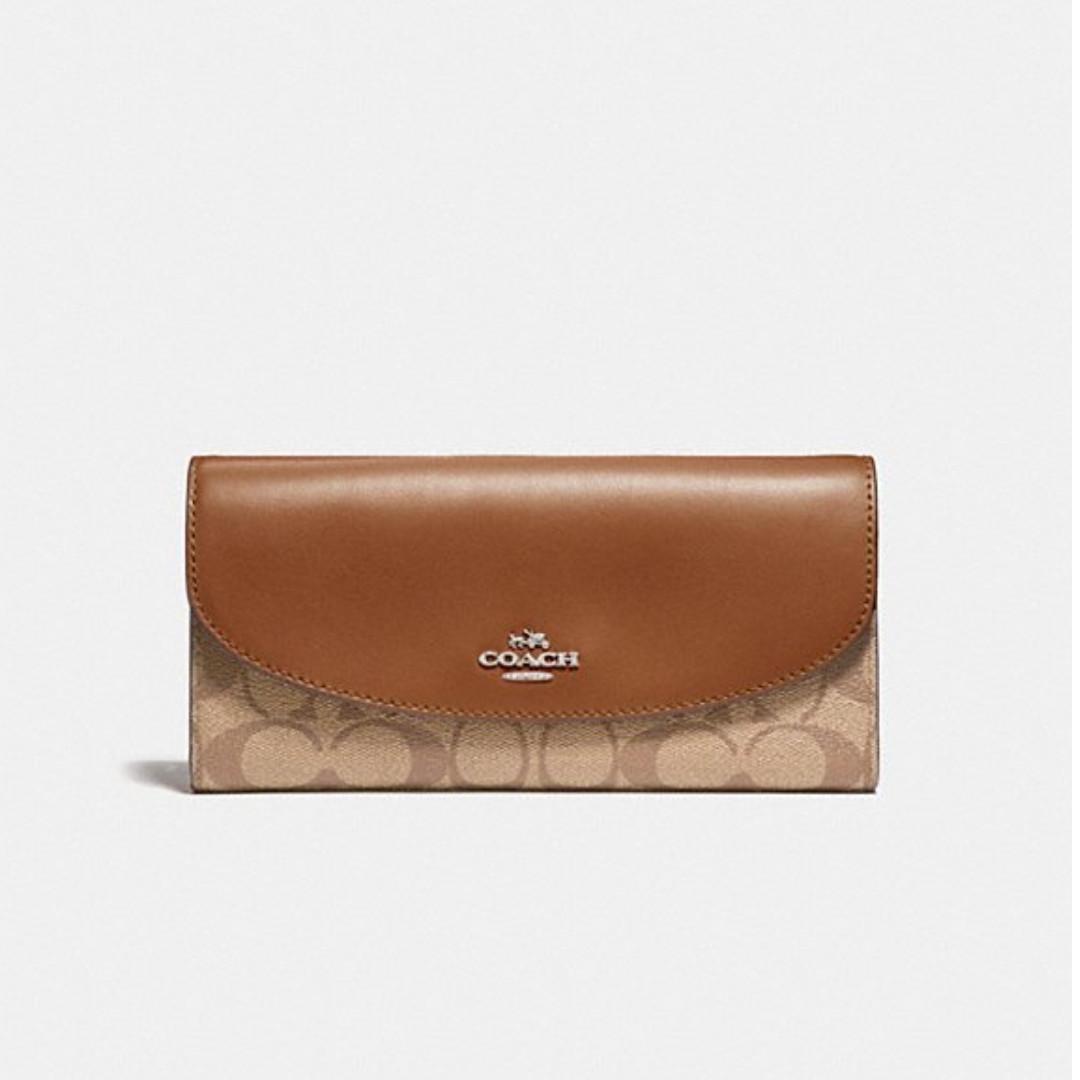 580a56260910 Authentic Coach F54022 Slim Envelope Wallet In Signature Canvas ...
